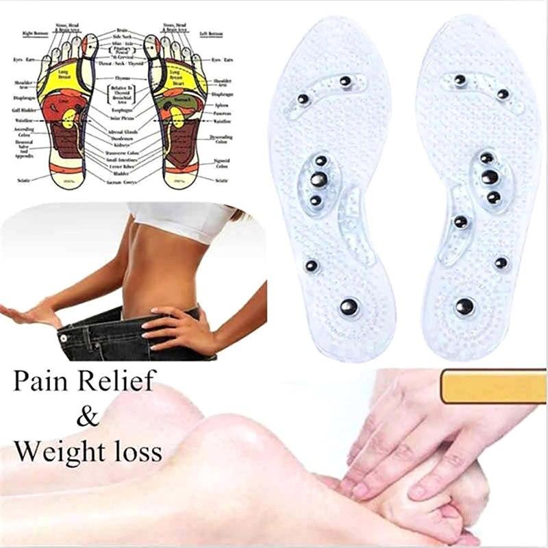1 пара силиконовых стелек для магнитотерапии, прозрачные стельки для похудения, массажная обувь для ухода за ногами, стелек