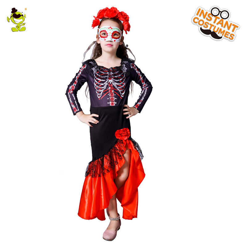 65af5e8f4 New Design Girls Skeleton Costumes with Bones Print Kids Halloween  Masquerade Party Pretty Devil Role Play