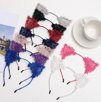 Fashion Variety Women Hair headbands Lace Cat Ears Headband Wedding Photography Portrait Style Hair Hoop hair accessoriesr цена 2017
