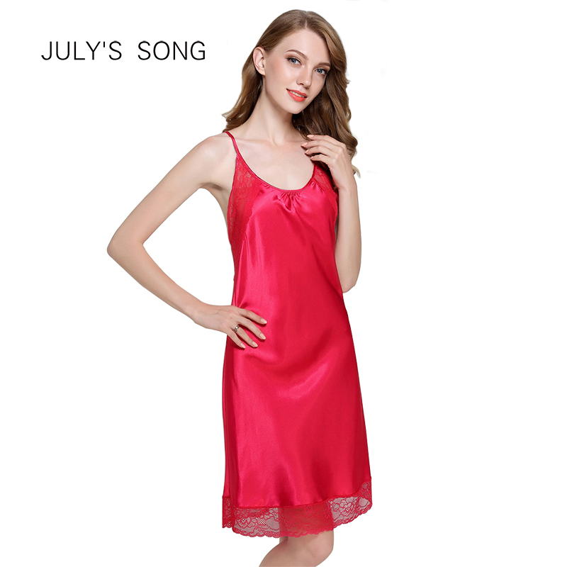 JULY'S SONG Silk Women Sleepwear Soft  Nightdress Sexy Lace Summer Women's V-neck Nightgown Sexy Sleepshirts