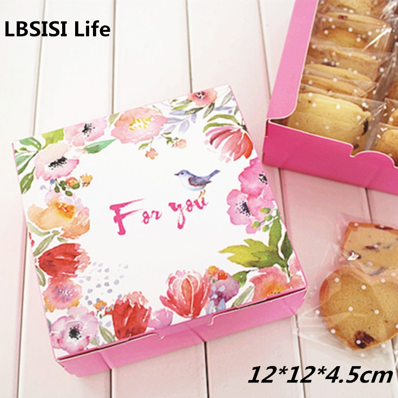 10pcs High Quality Pink Bird Spring Flower Cheese Cake Paper Box Cookie Container Gift Packaging Wedding Christmas 12*12*4.5cm ...