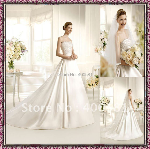 2e78d2bb37 Gorgeous Strapless A-line Chapel train Lace Top Beaded Ribbon Tulle Satin  Wedding Dress 2013