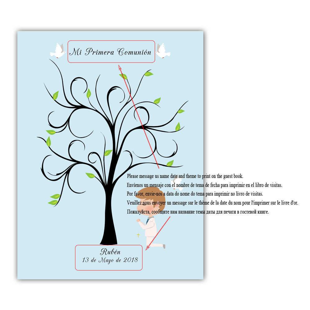 Menino Orando Sob A Árvore, Nome Personalizado Gratuitamente Data Lona Impressão Digital Livro de Visitas Para Mi Primera Comunion Do Chuveiro Do Bebê Crianças aniversário