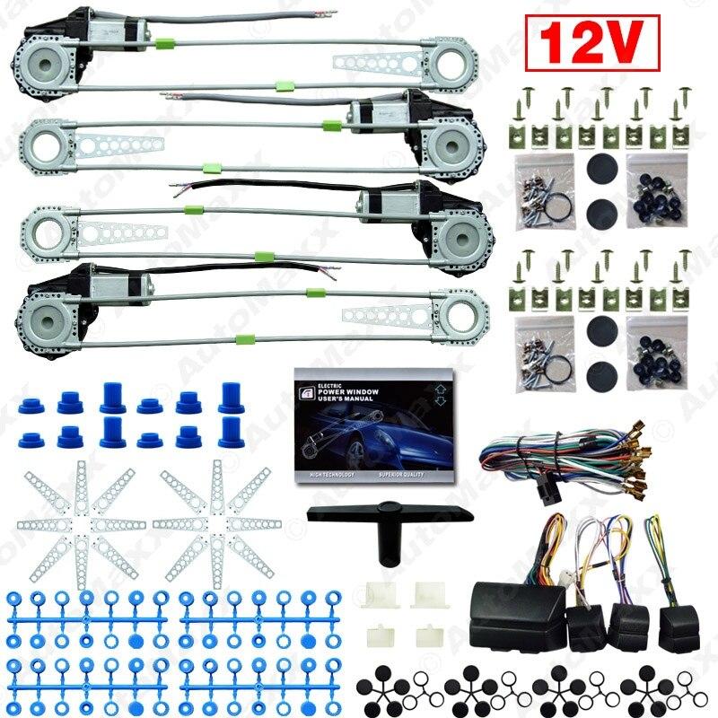 ФОТО Nueva Universal 12 V 4 puertas Kits elevalunas con 8 unids iluminacion interruptores #J-2845