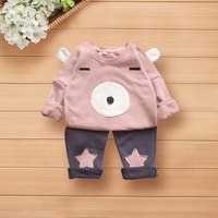 Baby Girl Winter Autumn Clothing Sets 3D Bear Image With Ears And Face Pattern Pants With