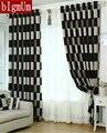 Breve Blanco Negro A Cuadros Café europeo Blackout/Pura Ventana Cortinas Para la sala/comedor/Hotel cortinas de Tratamiento