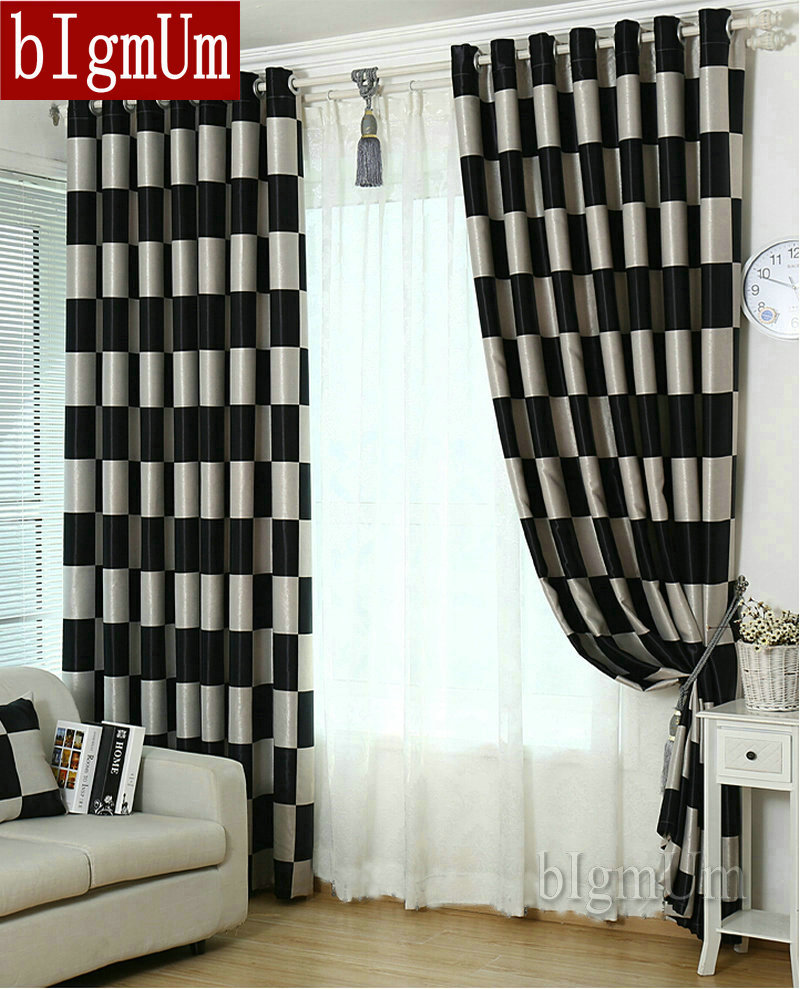 European brief pattern plaid blackout sheer window for Hotel drapes for sale