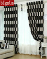 European Brief White Black Coffee Plaid Blackout/Sheer Window Curtains For living Room/dining room/For Hotel Drapes Treatment