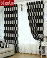 Europeu Breve Preto Branco Xadrez Café Blackout/Sheer Janela Cortinas Para sala de estar/sala de jantar/Hotel cortinas Tratamento