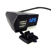 Voltmeter port motorcycle dual red charger in waterproof usb and phone