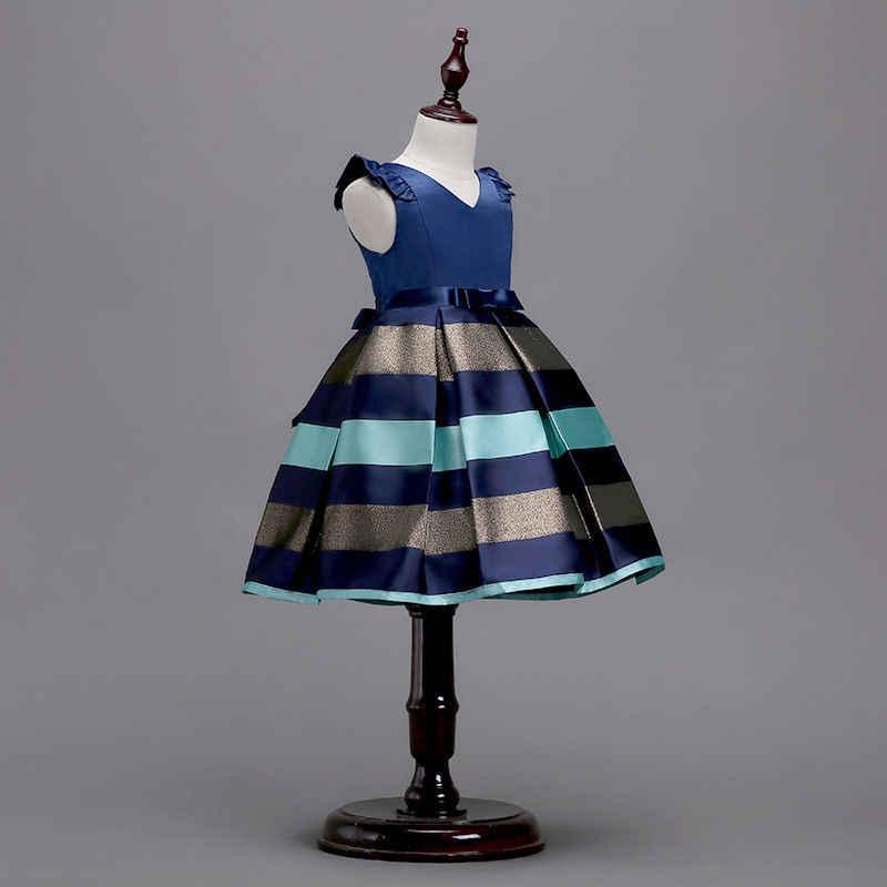 Moda resmi sevimli yaz elbisesi 2 stil yürümeye başlayan bebek kız Petal kollu çizgili Patchwork Bow Sashes A-Line diz boyu elbise