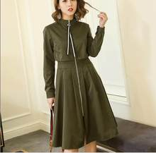 Women Lady Slim Midi Dress Full Zip Front Turtleneck Long Sleeve Spring Autumn Dress Solid Black/Army Green/Khaki/Apricot RQ22(China)