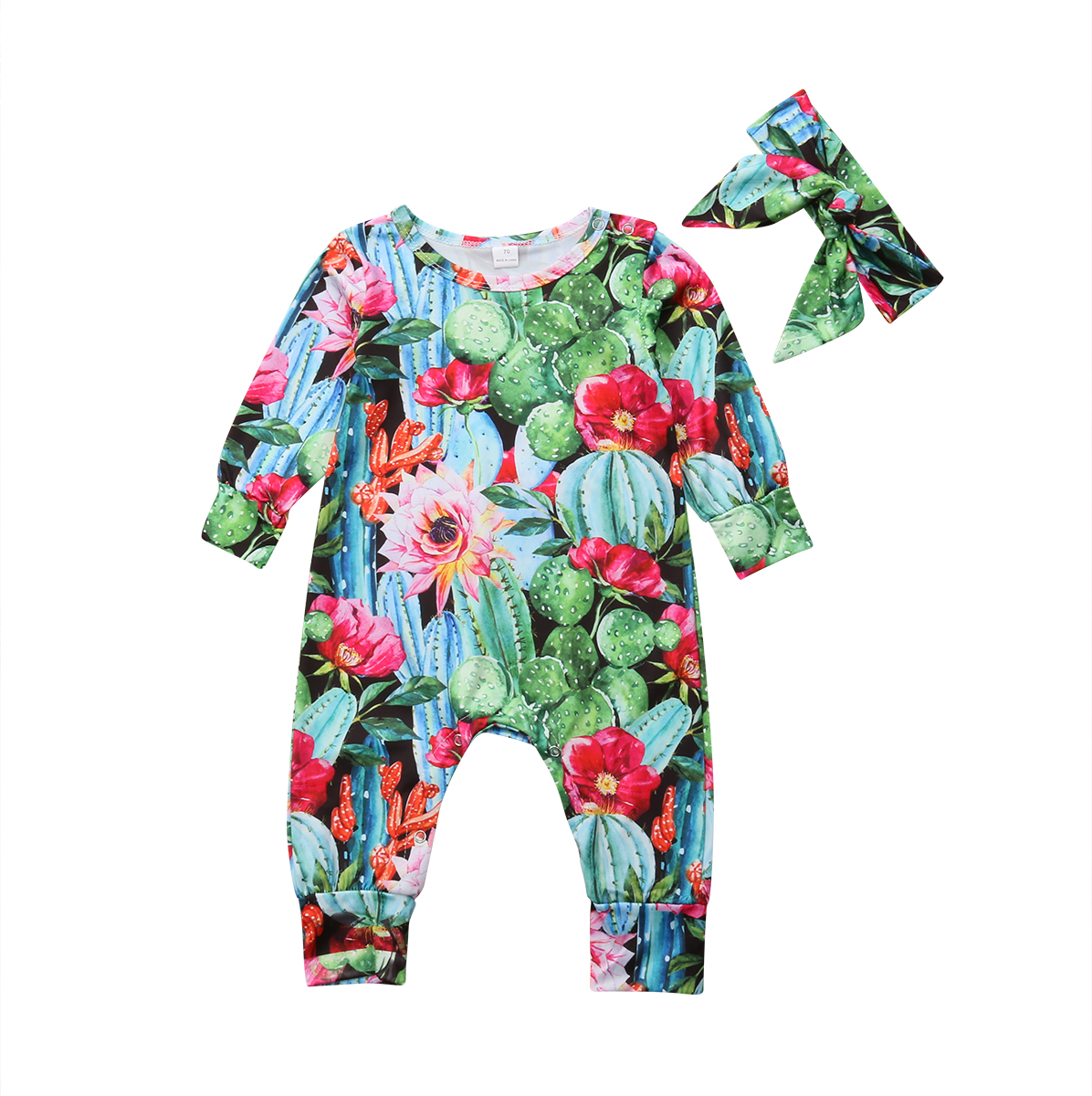Infant Baby Girls Cactus Printing One-piece Long Sleeve   Romper   Babies Floral Jumpsuit Headband Clothes Outfits Sets