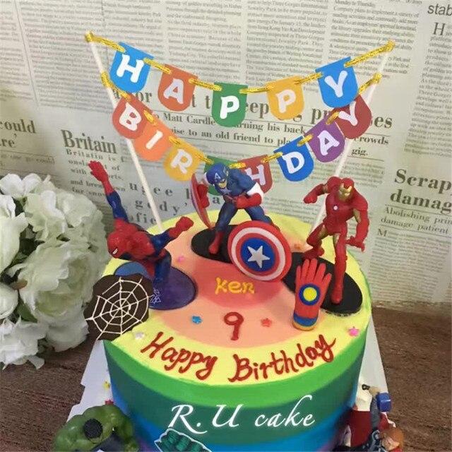 2pcs Happy Birthday Cake Topper Colorful Birthday Cake Picks Flag