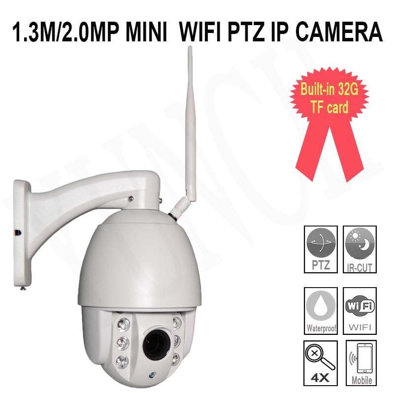 1.3M/2.0MP Network  Security Wireless Mini PTZ IP  Surveillance Camera Wifi System Onvif P2P 4X CCTV  with Outdoor waterproof