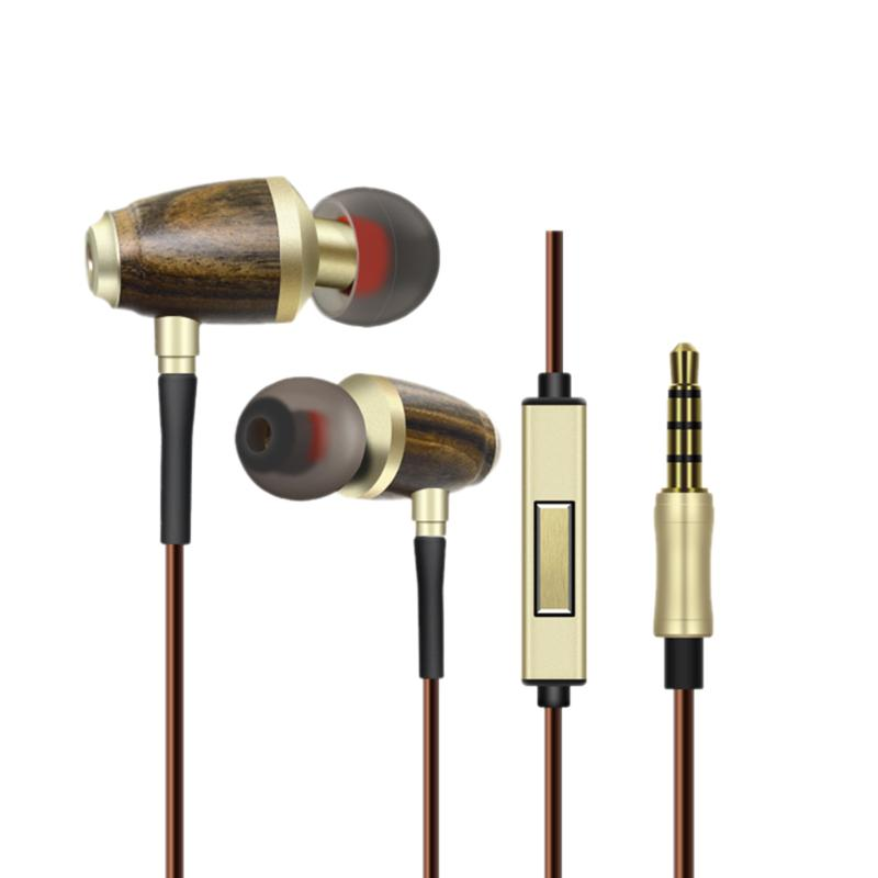 Wood Wired In Ear Earbuds Universal Stereo Headset Small Earphone with Microphone Volumn Control for Smartphone High Quality original xiaomi mi hybrid earphone in ear 3 5mm earbuds piston pro with microphone wired control for samsung huawei p10 s8