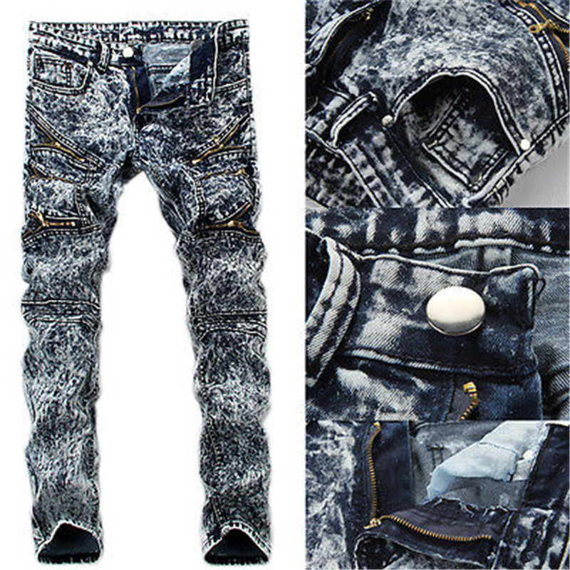 Men's Slim Jeans Skinny Runway Straight Elastic Denim Pants Destroyed Ripped Jeans Men Clothes Cool Streetwear