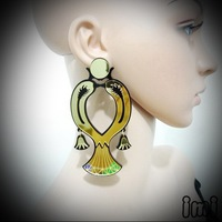 YCE 2 Ancient Egypt Gold Mirror Acrylic Vintage Queen Stud Earrings