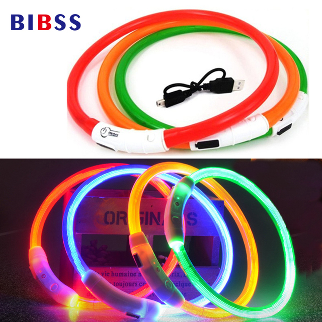 USB Charging Adjustable Pet Dog Collar LED Rechargeable Night Flashing Luminous Dog Collars Plastic Solid Neck Collar for Dogs