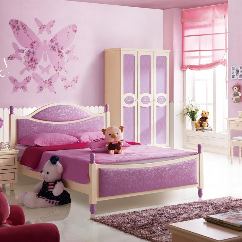 Household Teen Wood Bedroom Furniture Korean Girl Princess