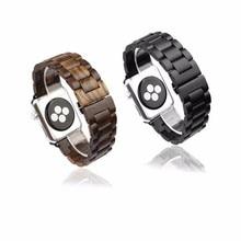42mm de madera de sándalo pulsera de lazo de mariposa venda de reloj de la correa de bloqueo para apple watch iwatch + libre para apple hd película de vidrio