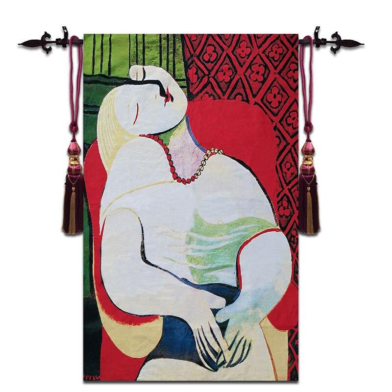 120*200 см Пикассо знаменитая картина (мечта) большой Настенный Гобелены Бельгии стены ткань домашнего декора ткань марокканском стиле tapiz