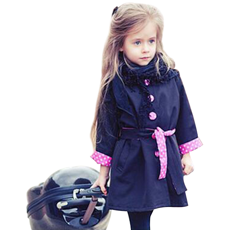 Autumn Toddler Girl Clothing Long European And American Style Trench Fille Turn-Down Collar Coat Single Breasted Outerwear