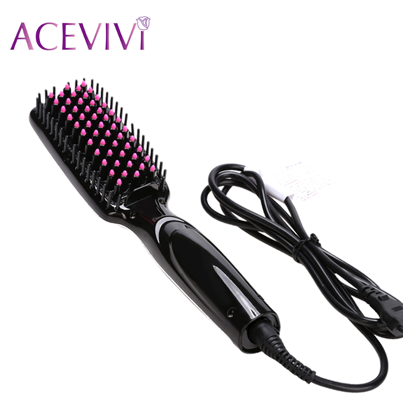 ACEVIVI Digital Electric Hair Straightener Brush Comb Detangling Straightening Irons EU/ US/ UK Plug Fast Hair Straightener Comb good quality professional remington hair straightener s8590 keratin therapy digital straightener with smart sensor eu us plug