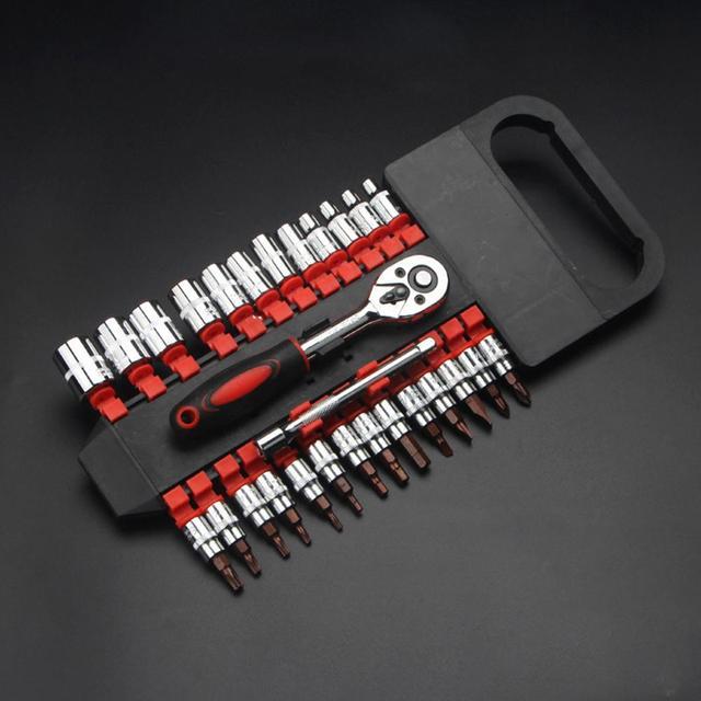 28Pcs Car 1/4 Inch Ratchet Wrench Socket Release Extension Bar Repair Tool Set