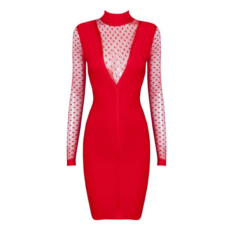 Sexy Глубокий V кружева Для женщин Бандажное платье черный, красный лоскутное Для женщин Bodycon платье мода длинный рукав по колено осень