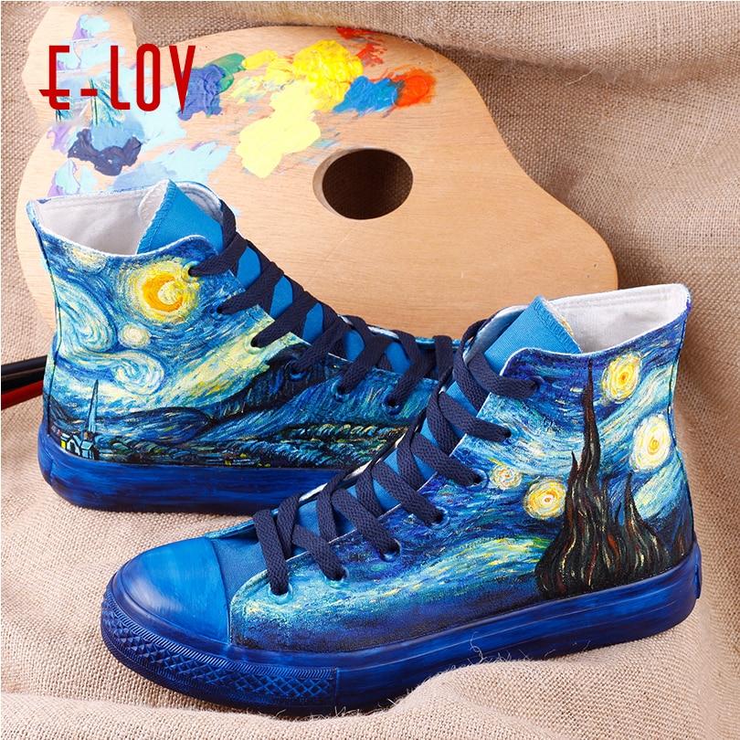 Van Pintado Noche Lona Altos Lov A Mujer E Starry Zapatos Gogh De vqOo1YU
