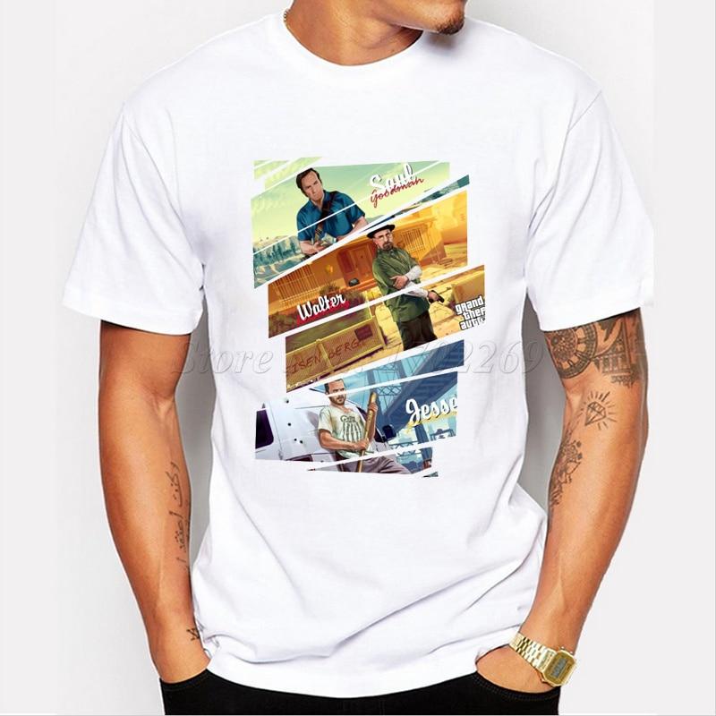 Pottis Brand Hot Sale Walt en Jesse bedrukt T-shirt 2018 Heren breken - Herenkleding