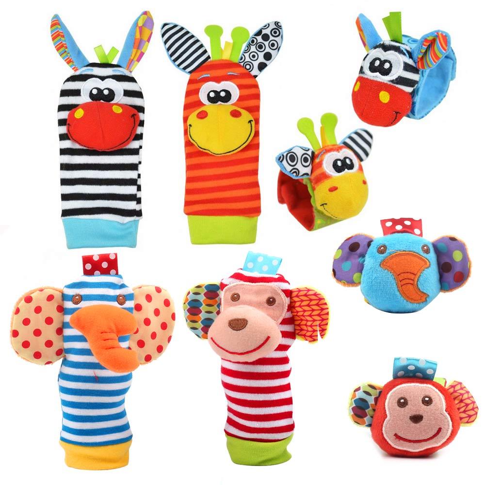 Cartoon Baby Speelgoed Pols Band Sokken Dier Pluche Rammelaars kinderen Speelgoed 0-12 Maanden Pasgeboren Voet Finder Sok pasgeboren Rammelaar 3