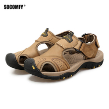 SOCOMFY Summer Genuine Leather Soft Male Sandals Shoes For Men Breathable Light Beach Casual Quality Walking Sandals Sport