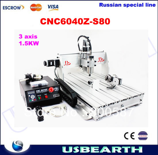 Mini CNC router 6040 Z-S80 1.5kW VFD water cooled engraving machine with rotary axis ,no ta to Russia russia no tax best water jet cutting machine price stone 4aixs cnc router 6040 z s 800w water cooled with limit switch