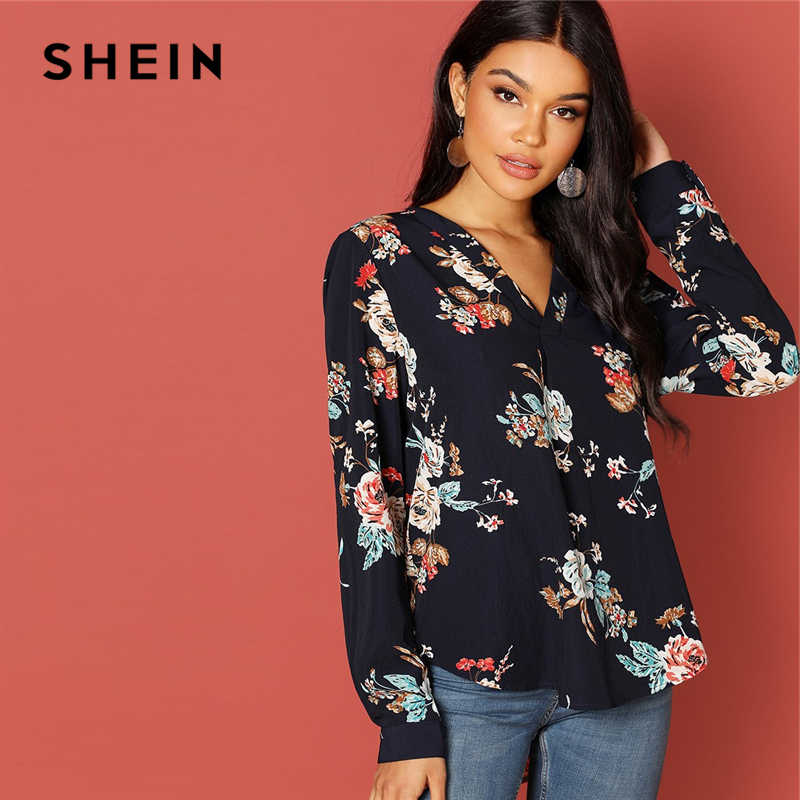 SHEIN Navy Vacation Holiday Floral Print V-Placket Curved Dip Hem Asymmetrical Blouse Autumn Casual Women Tops And Blouses