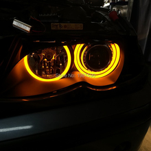 цена на Dual Color White Amber Yellow Angel Eyes Cotton Light for E46 4Door Sedan non Projector 1998-2006 halo ring DRL Turn signal Lamp