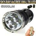 5000LM 4xT6 4 xCree XM-L T6 3-Mode СВЕТОДИОДНЫЙ Фонарик Факел Лампы SKY РЭЙ КИНГ 4T6 СВЕТОДИОДНЫЙ Фонарик + 4 шт. 4000 мАч аккумулятор + зарядное устройство