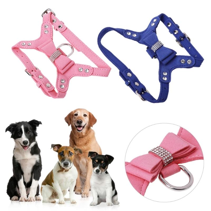 Pet Harness Leather Rhinestone Bowknot Harness Puppy Dog Cat Harness Vest