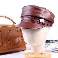 New Women's Ladies Genuine leather Cowhide Flat Cap Newsboy Beaine Beret Hats/Caps