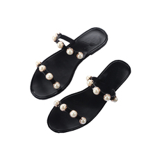 Women Summer Beach Slippers Women PVC Slippers Pearl Flat Flip Flops Sexy Platform Sandals Women's Non-slip Shoes