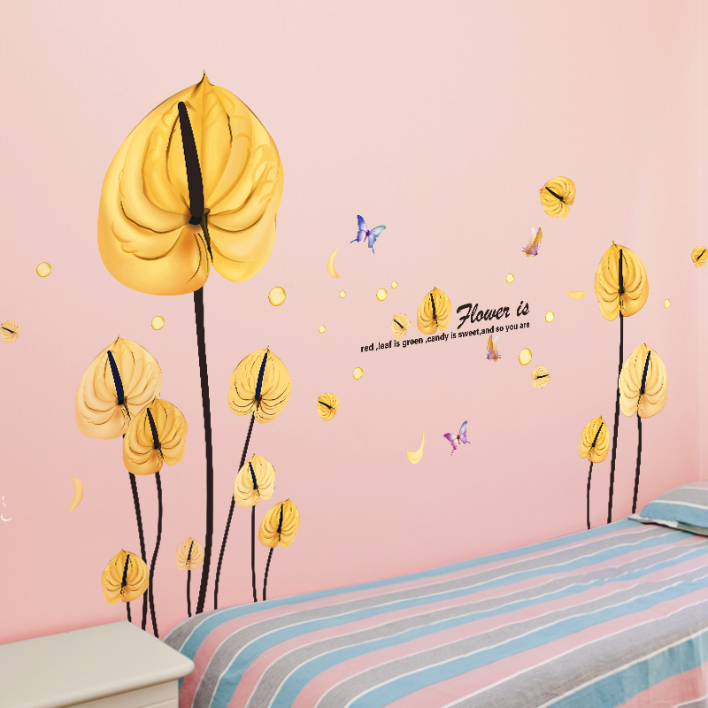 SHIJUEHEZI] Yellow Leaves Wall Stickers PVC Material DIY Flower Home ...