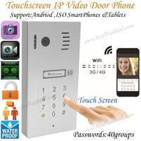 タッチスクリーンwifiワイヤレスビデオドア電話システムワイヤレス制御ipカメラビデオインターホンリモコンスマートドアベル