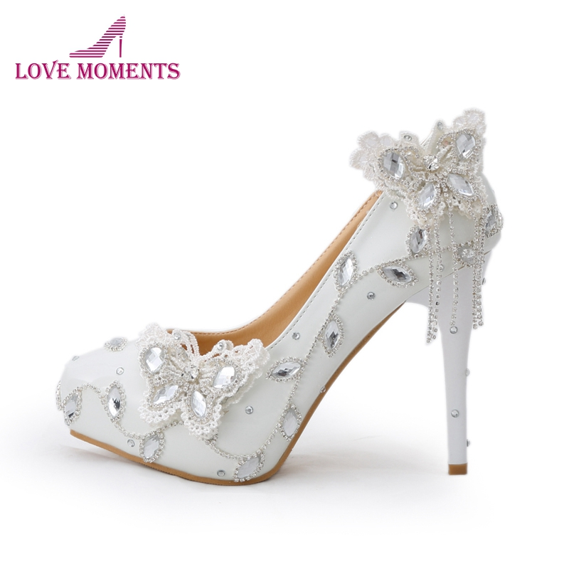 Sparkling Butterfly Wedding Shoes Crystal Bride Dress Shoes Elegant Women Dress Pumps Graduation Party Prom Shoes Platform Pump ab crystal heels luxury diamond platform bridal pumps wedding shoes lady sparkling prom party shoes mother of bride shoes