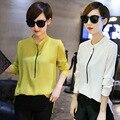 2016 Ninguno Más Tamaño Sólido Blusa Cuerpo Real Mujeres Tops pequeño Fresco Hembra de manga larga Cuello de la Camisa de Primavera Nuevos Modelos Ol coreano