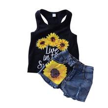Girls Clothing Sets 2019 Summer Print Vest Denim Shorts Two-piece Sleeveless Children Sets Casual Fashion Girls Clothes Suit недорого