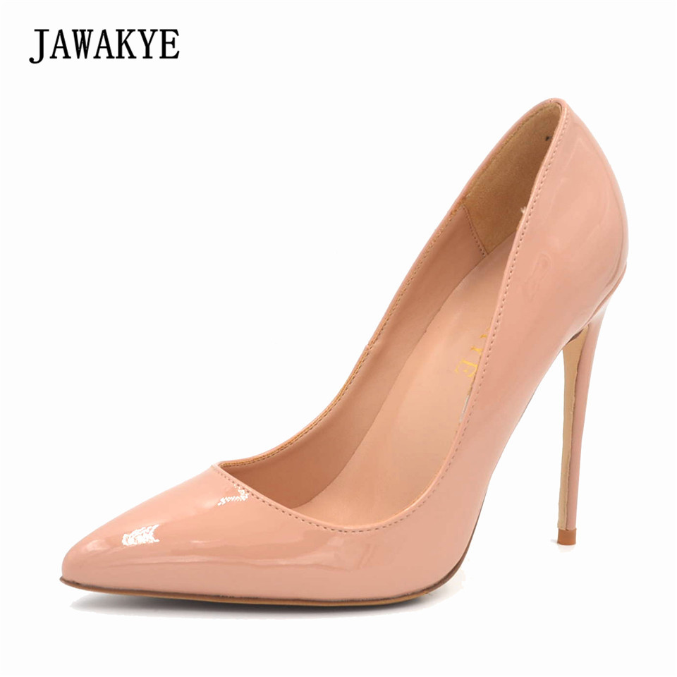 JAWAKYE Sexy Pointed Toe Women Pumps Nude Black Patent Leather extreme high heels Shoes Woman stiletto Wedding Shoes hee grand sweet patent leather women oxfords shoes for spring pointed toe platform low heels pumps brogue shoes woman xwd6447