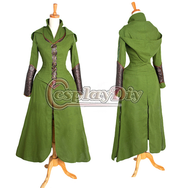 Cosplaydiy  Free shipping Custom made Movie The Hobbit Desolation of Smaug tauriel Cosplay Costume Dress for adults/women