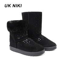 UKNIKI Shoes Women Winter Boots Female With Plush Mid Calf Boots Snow Boots