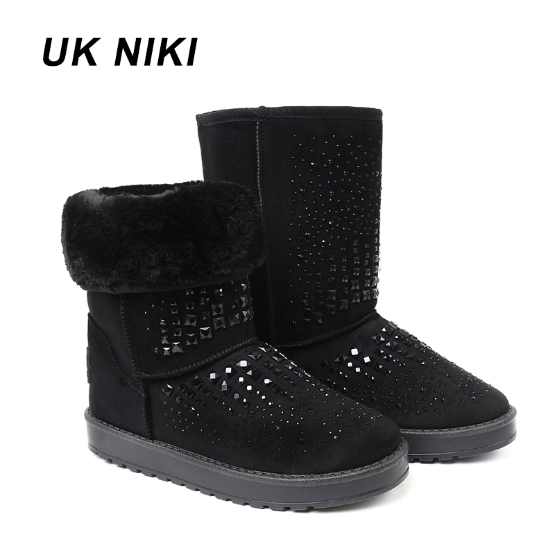 UKNIKI shoes women winter boots Female with plush mid calf boots snow